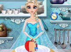 Frozen Elsa Preparando uma Torta de Maçã